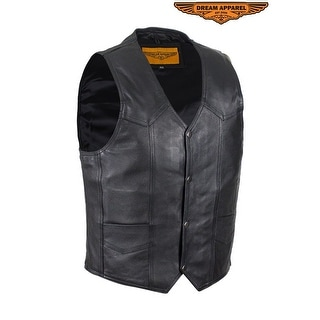Mens Black Leather Vest Size 38