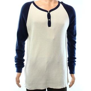 GANT RUGGER NEW White Ivory Blue Mens XL Granpa Thermal Henley Shirt