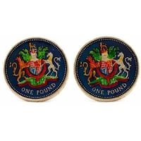 English Pound Unicorn Coin Cufflinks Hand Painted Coin Collector Memorbilla