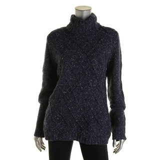Anne Klein Womens Cable Knit Turtleneck Sweater