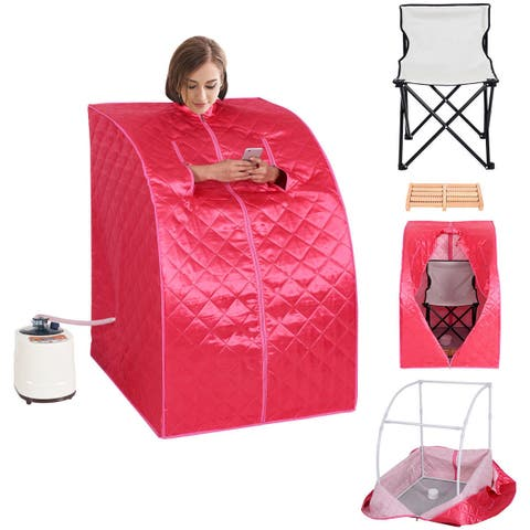 Costway Portable 2L Steam Sauna Spa Full Body Slimming Loss Weight Detox Therapy w/Chair