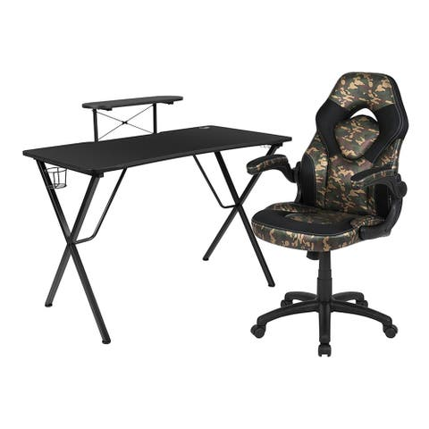 Offex Computer Gaming Desk and Racing Chair Set with Cup Holder, Headphone Hook, Monitor & Smartphone Stand - Camouflage, Black