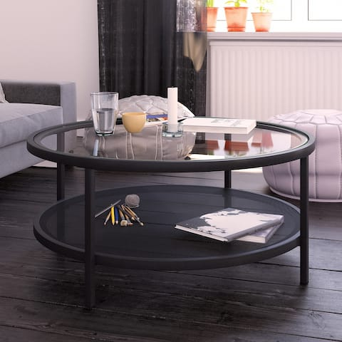 Carbon Loft Mornie Industrial Metal Round Coffee Table in Blackened Bronze