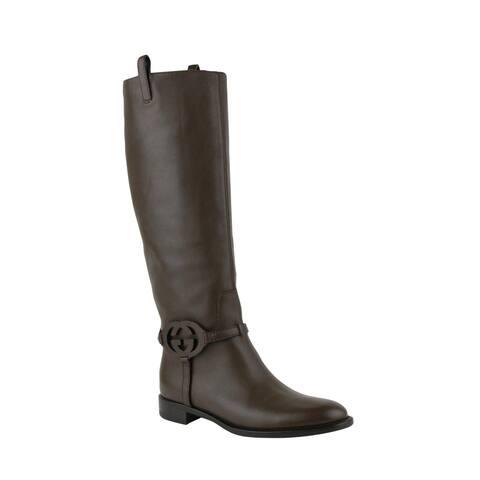 Gucci Women's Brown Interlocking G Leather Knee Boots 338541 2140
