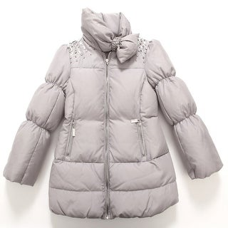 Richie House Baby Girls Grey Bejeweled Padded Coat 24M