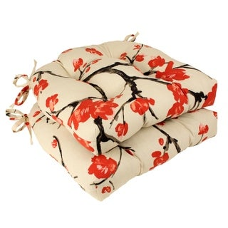 """Set of 2 Cream and Red Asian Flowering Branch Tufted Indoor Chair Cushions 16"""""""