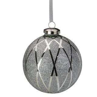 "Link to 4"" Silver Glitter Diamond Pattern Glass Ball Christmas Ornament Similar Items in Christmas Decorations"