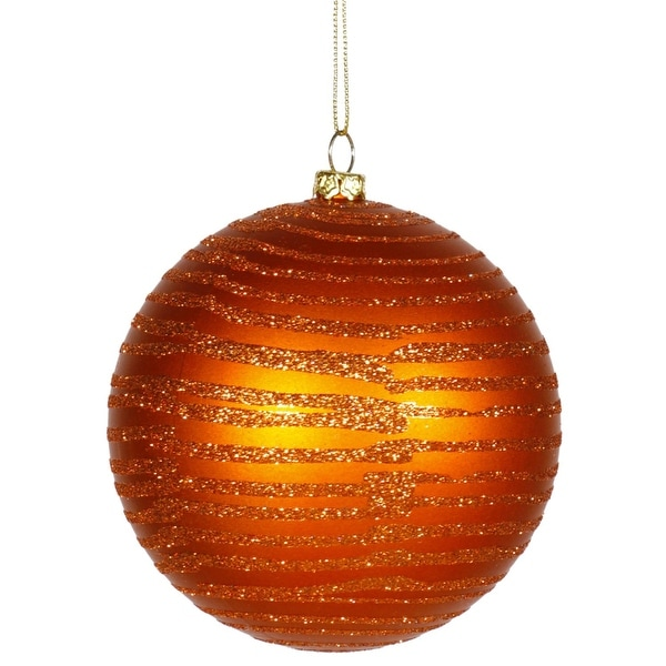 """Burnt Orange Glitter Striped Shatterproof Christmas Ball Ornament 4"""" (100mm)"""