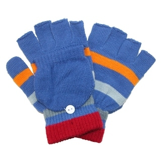 CTM® Kids' Stretch Knit Striped Convertible Gloves - LIGHT BLUE - One Size
