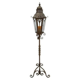 Aspire Home Accents 52946 Outdoor Candle Holder Lantern with Stand - Brown