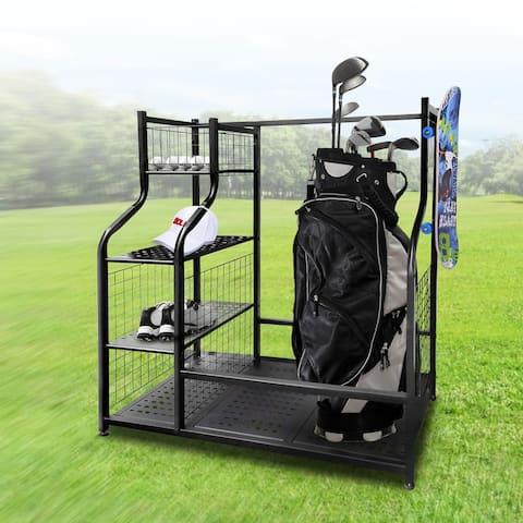 Mythinglogic Golf Storage Garage Organizer Dual Golf Bag Storage Stand