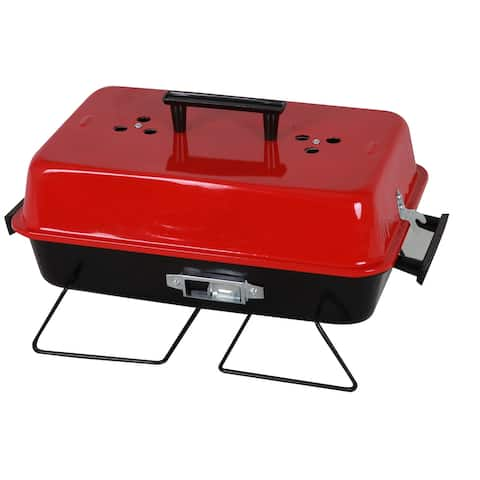 The Your Choice Portable Folding Charcoal BBQ Camping Grill with Red Lid for Camping, Grilling, Tailgating. 20 In Grate