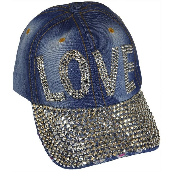 Love Sparkling Bedazzled Studded Baseball Cap Hat, Denim, Light Blue