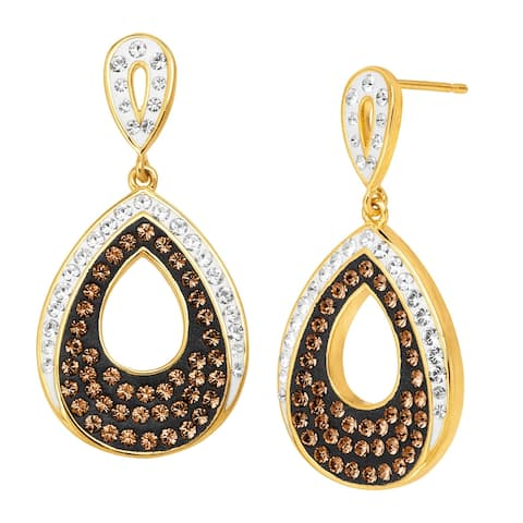 Teardrop Earrings with Brown & White Crystals in 18K Gold-Plated Bronze
