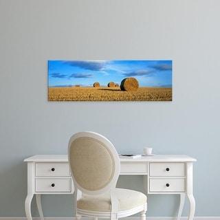 Easy Art Prints Panoramic Images's 'Hay Bales, Scotland, United Kingdom' Premium Canvas Art