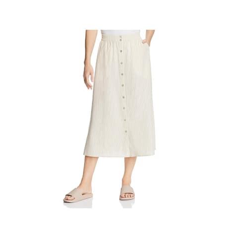 Eileen Fisher Womens Midi Skirt Striped Button-Down - L