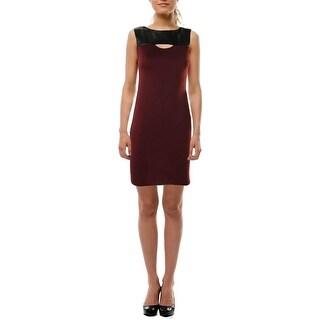 Aqua Womens Juniors Faux Leather Trim Textured Party Dress