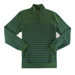 Club Room NEW Green Mens Size Large L Striped Mock-Neck 1/2 Zip Sweater