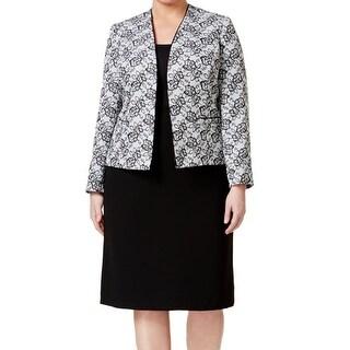 Tahari By ASL NEW Black Women's Size 18W Plus Floral Skirt Suit Set