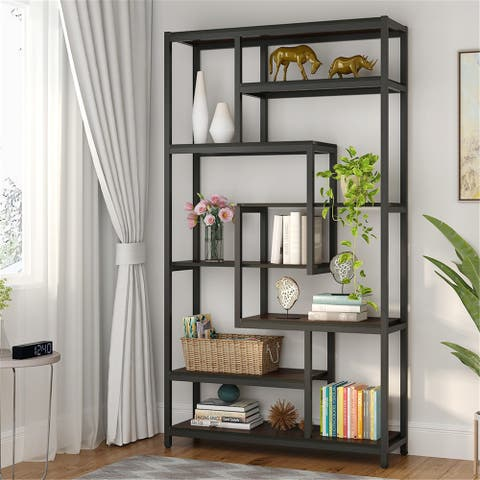 8-Shelves Staggered Bookshelf Industrial Etagere Bookcase - Black