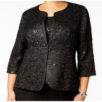 Alex Evenings Black Womens Size 1X Plus Shimmer Top & Jacket