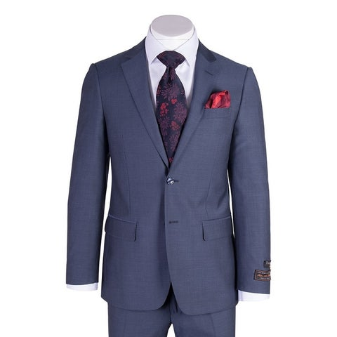 Tiglio Novello Blue Herringbone Modern Fit, Pure Wool Suit 12A004