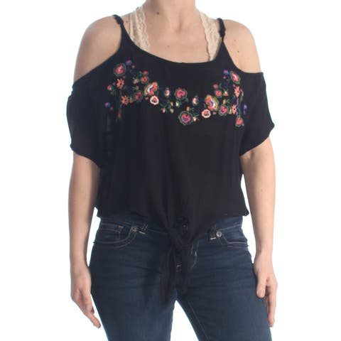 POLLY & ESTHER Womens Black Cold Shoulder Floral Embroidered Cold Shoulder Short Sleeve Scoop Neck Top Juniors Size: XS