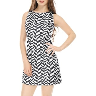 Women Crew Neck Sleeveless Wavy Stripes Mini Dress Black XS