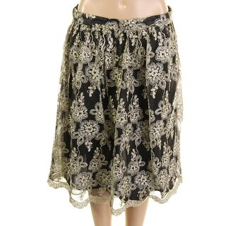 Alythea Womens Metallic Applique A-Line Skirt - L