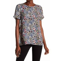 DR2 Blue Pink Womens Size Small S Floral Print Crewneck Blouse