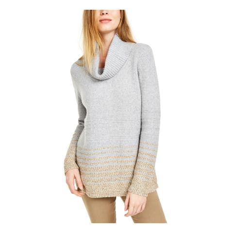 CALVIN KLEIN Womens Gray Long Sleeve Cowl Neck Tunic Sweater Size XL