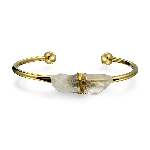 Bling Jewelry Gold Plated Stainless Steel Clear Quartz Wire Wrapped Cuff