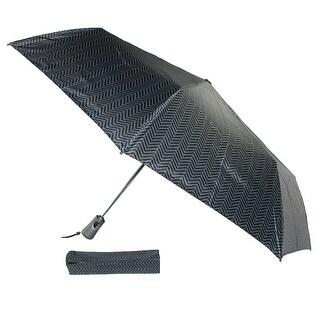 Totes Auto Open and Close Tread Print Umbrella - black tread - One Size