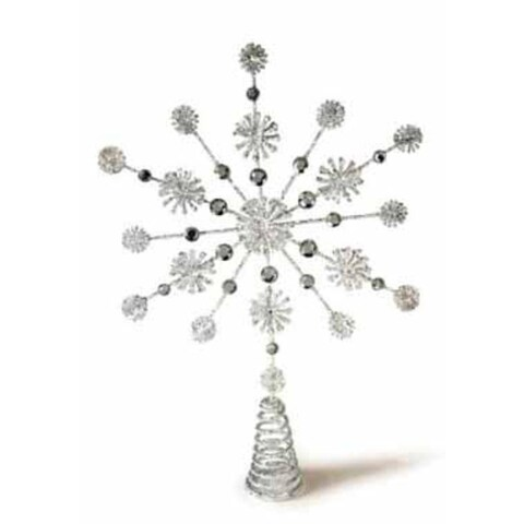 """15"""" Silver Glittered and Jeweled Snowflake Christmas Tree Topper - Unlit"""