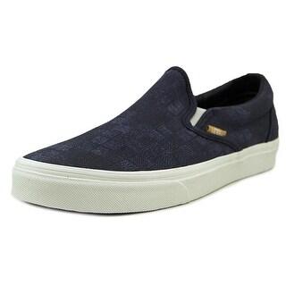Vans Classic Slip-On Men Round Toe Canvas Blue Skate Shoe