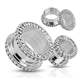 Surgical Steel Double Flared Screw-Fit Multi Gemmed Rim with Beaded Rim Tunnel Plug (Sold Individually)