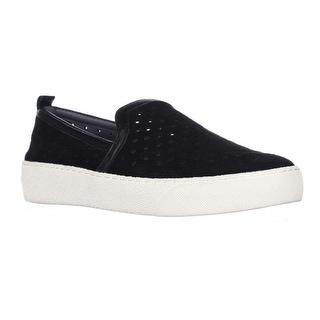 Sam Edelman Bea Perforated Slip-On Fashion Sneakers - Black Suede