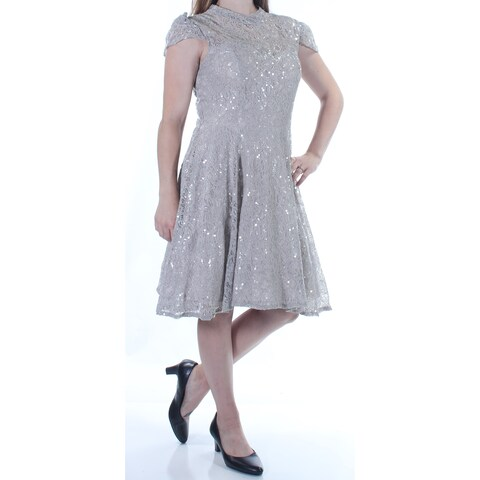 BETSY & ADAM $209 Womens 1243 Gray Sequined Cap Sleeve Turtle Neck Dress 8 B+B