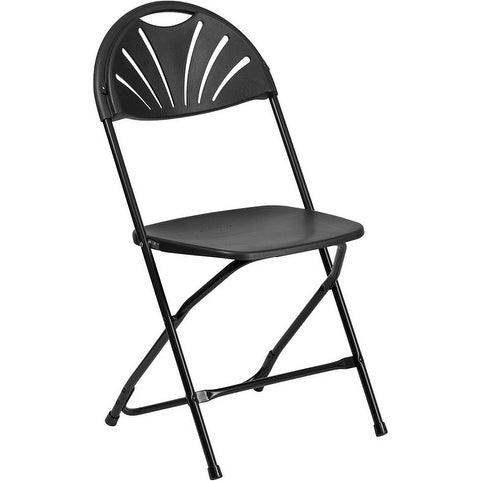 Rivera Heavy Duty Plastic Folding Chair, Black, Fan Back   Free Shipping On  Orders Over $45   Overstock.com   26305502