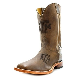 Nocona Texas A&M Branded Men B Square Toe Leather Brown Western Boot