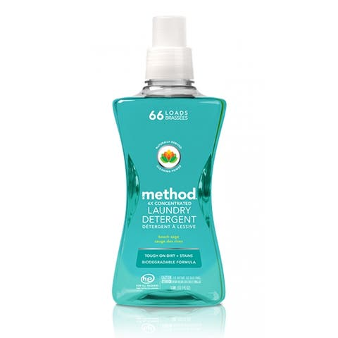 Method 01489 4X Concentrated Laundry Detergent, Beach Sage, 66 Loads, 53.5 Oz