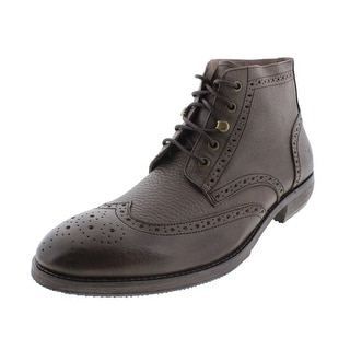 Andrew Marc Mens Hillcrest Leather Wingtip Dress Boots - 9.5 medium (d)