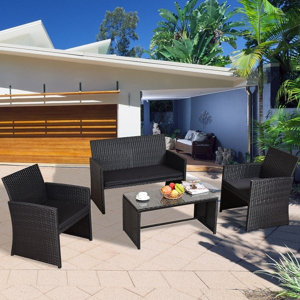Black Wicker Coffee Table: Shop Costway 4 PCS Outdoor Rattan Wicker Furniure Set Sofa