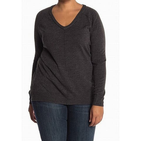 14th & Union Women's Plus Ribbed Trim V-Neck Sweater $25