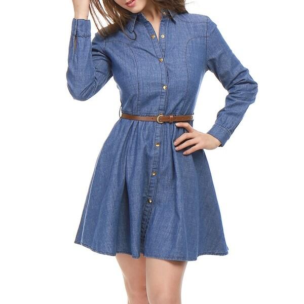 Women Long Sleeves Belted Flared Above Knee Denim Shirt Dress ...