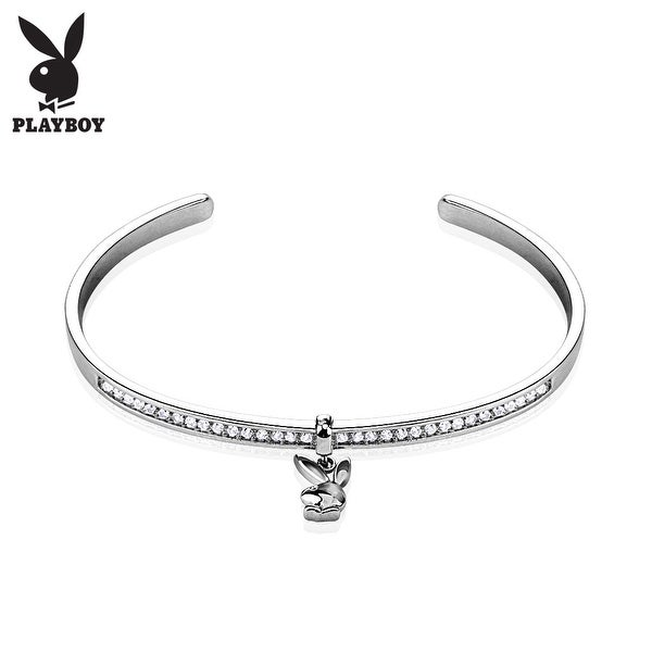 Playboy Bunny Dangle Multi Paved Gem Resizable Cuff Bracelet (10 mm) - 7 in