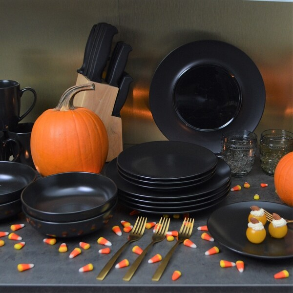 Euro Essential Onesto Black Stoneware Dinner Charger Plate/Platter (Set of 4) - 11.5 x 11.5 x .75. Opens flyout.