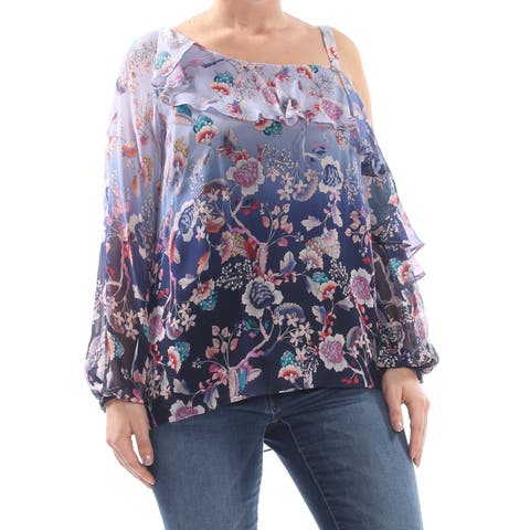 5323d2be NANETTE LEPORE Womens Blue Ruffled Low Back Floral Ombre Long Sleeve  Asymmetrical Neckline Evening Top Size
