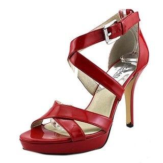 Michael Michael Kors Evie Platform Open Toe Patent Leather Platform Heel