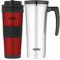 Thermos 16oz Insulated Stainless Steel Travel Mug w/ 18oz Travel Tumbler Bundle